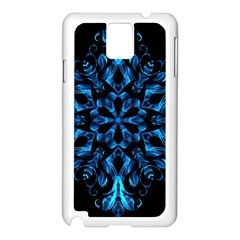 Blue Snowflake On Black Background Samsung Galaxy Note 3 N9005 Case (White)