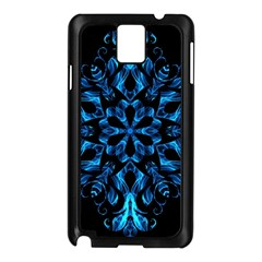 Blue Snowflake On Black Background Samsung Galaxy Note 3 N9005 Case (black)