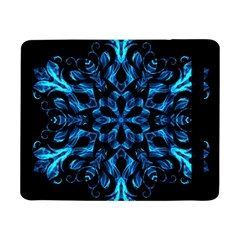 Blue Snowflake On Black Background Samsung Galaxy Tab Pro 8 4  Flip Case