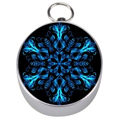 Blue Snowflake On Black Background Silver Compasses
