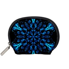 Blue Snowflake On Black Background Accessory Pouches (small)