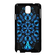 Blue Snowflake On Black Background Samsung Galaxy Note 3 Neo Hardshell Case (black)