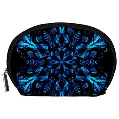 Blue Snowflake On Black Background Accessory Pouches (large)