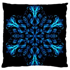 Blue Snowflake On Black Background Large Flano Cushion Case (two Sides)