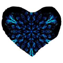 Blue Snowflake On Black Background Large 19  Premium Flano Heart Shape Cushions