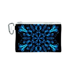 Blue Snowflake On Black Background Canvas Cosmetic Bag (s)