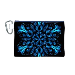 Blue Snowflake On Black Background Canvas Cosmetic Bag (m)