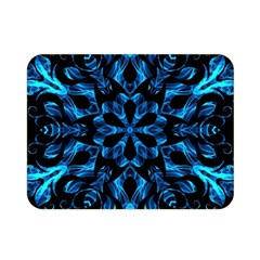 Blue Snowflake On Black Background Double Sided Flano Blanket (mini)