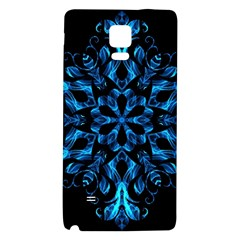 Blue Snowflake On Black Background Galaxy Note 4 Back Case
