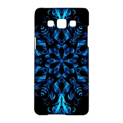 Blue Snowflake On Black Background Samsung Galaxy A5 Hardshell Case