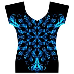 Blue Snowflake On Black Background Women s V-Neck Cap Sleeve Top