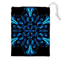 Blue Snowflake On Black Background Drawstring Pouches (XXL)