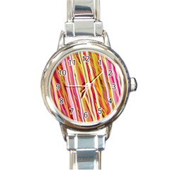 Color Ribbons Background Wallpaper Round Italian Charm Watch