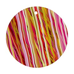 Color Ribbons Background Wallpaper Ornament (Round)