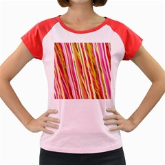 Color Ribbons Background Wallpaper Women s Cap Sleeve T Shirt