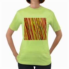 Color Ribbons Background Wallpaper Women s Green T-Shirt