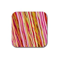 Color Ribbons Background Wallpaper Rubber Coaster (square)