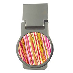 Color Ribbons Background Wallpaper Money Clips (Round)