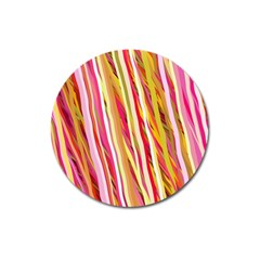 Color Ribbons Background Wallpaper Magnet 3  (round)