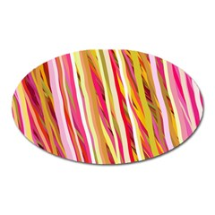 Color Ribbons Background Wallpaper Oval Magnet