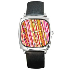 Color Ribbons Background Wallpaper Square Metal Watch