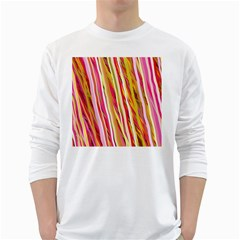 Color Ribbons Background Wallpaper White Long Sleeve T Shirts