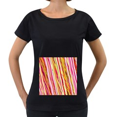 Color Ribbons Background Wallpaper Women s Loose Fit T Shirt (black)