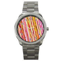 Color Ribbons Background Wallpaper Sport Metal Watch