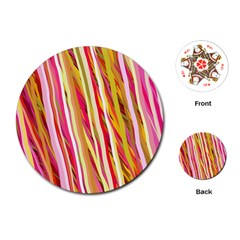 Color Ribbons Background Wallpaper Playing Cards (Round)