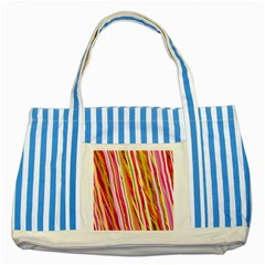 Color Ribbons Background Wallpaper Striped Blue Tote Bag