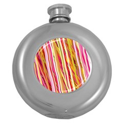 Color Ribbons Background Wallpaper Round Hip Flask (5 oz)