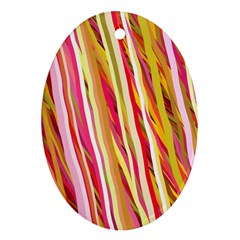 Color Ribbons Background Wallpaper Oval Ornament (Two Sides)