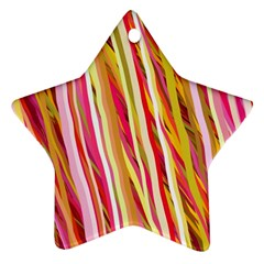 Color Ribbons Background Wallpaper Star Ornament (Two Sides)