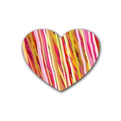 Color Ribbons Background Wallpaper Rubber Coaster (heart)