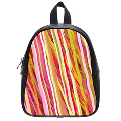 Color Ribbons Background Wallpaper School Bags (Small)