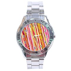 Color Ribbons Background Wallpaper Stainless Steel Analogue Watch