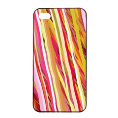 Color Ribbons Background Wallpaper Apple Iphone 4/4s Seamless Case (black)