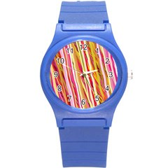 Color Ribbons Background Wallpaper Round Plastic Sport Watch (S)