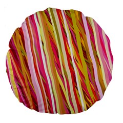 Color Ribbons Background Wallpaper Large 18  Premium Round Cushions