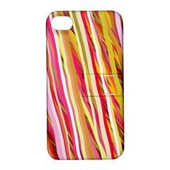Color Ribbons Background Wallpaper Apple iPhone 4/4S Hardshell Case with Stand
