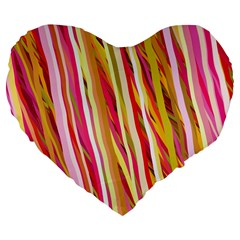Color Ribbons Background Wallpaper Large 19  Premium Flano Heart Shape Cushions