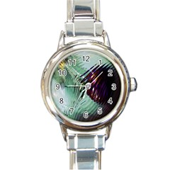Out Of Time Glass Pearl Flowag Round Italian Charm Watch