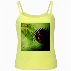 Out Of Time Glass Pearl Flowag Yellow Spaghetti Tank