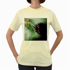 Out Of Time Glass Pearl Flowag Women s Yellow T-Shirt