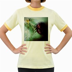 Out Of Time Glass Pearl Flowag Women s Fitted Ringer T-Shirts
