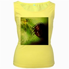 Out Of Time Glass Pearl Flowag Women s Yellow Tank Top