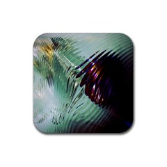 Out Of Time Glass Pearl Flowag Rubber Coaster (square)