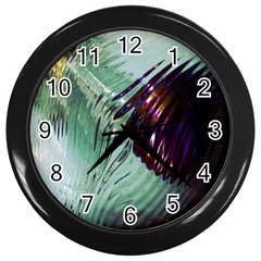 Out Of Time Glass Pearl Flowag Wall Clocks (Black)