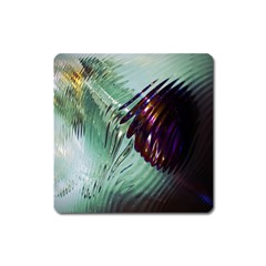 Out Of Time Glass Pearl Flowag Square Magnet