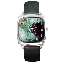 Out Of Time Glass Pearl Flowag Square Metal Watch